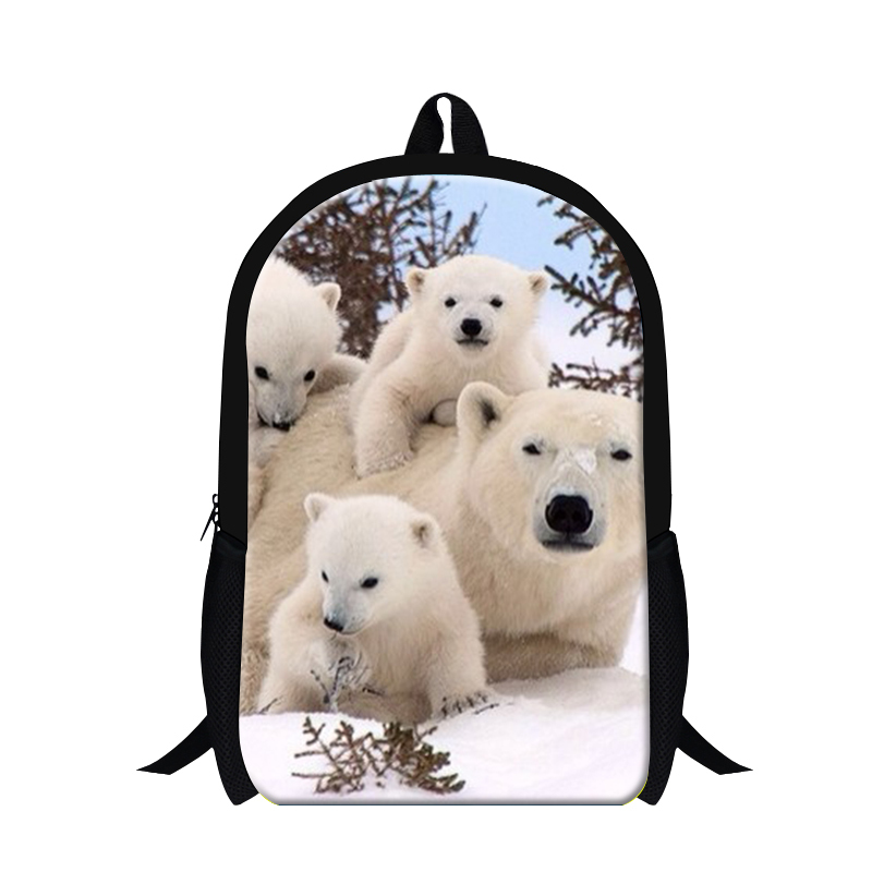 Latest polar bear printing backpack for teens children school bag animal back pack cute bagpack for high class students bookbag