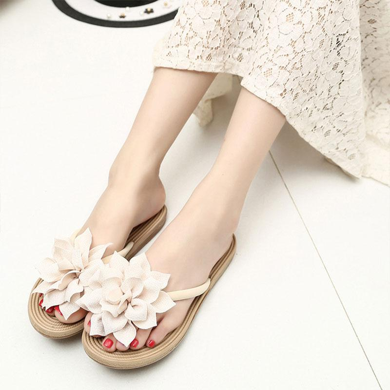 Women Flip Flops Flower Slippers Cloth Platform Solid 2017 Summer Shoes Fashion Ladies Shoes Open Toe Female Cute Beach Sandals 2017 shoes women sandals flip flops sexy open toe slides female fashion platform comfortable sandal sweet slippers jelly shoes