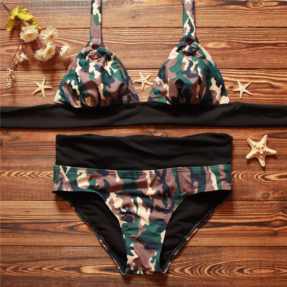 Bikini 2017 Swimsuit Two Piece Swimwear Women Low Waist Bathing Suit Push Swimming Beach Bikinis Set Print Camouflage - Fighting store