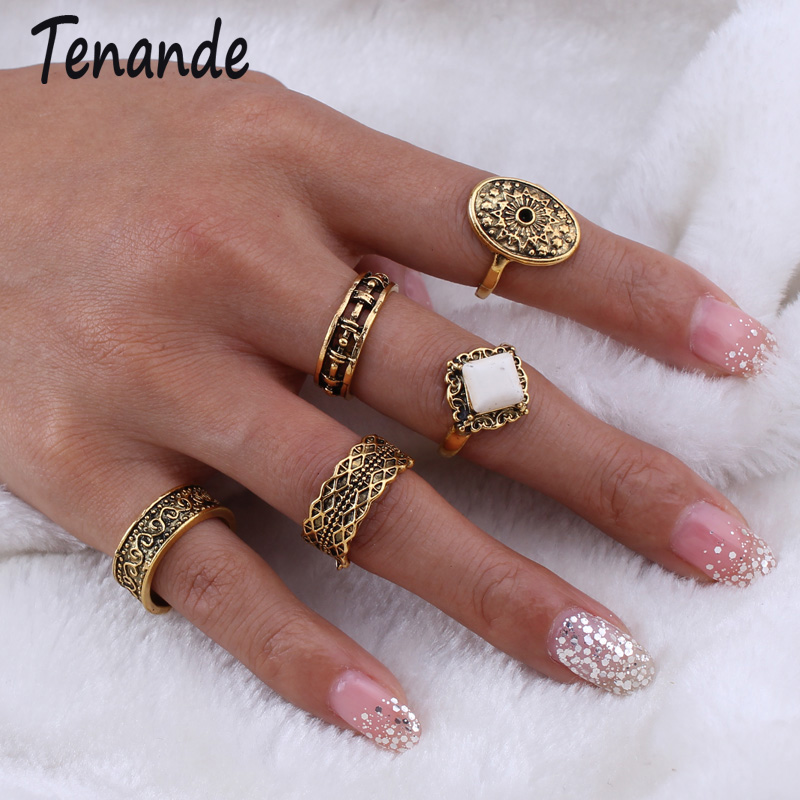 Tenande Vintage Antique Gold Color Hollow Natural Stone Carved Leaves Sun Flowers Knuckle Rings Set for Women Boho 5pcs/Set