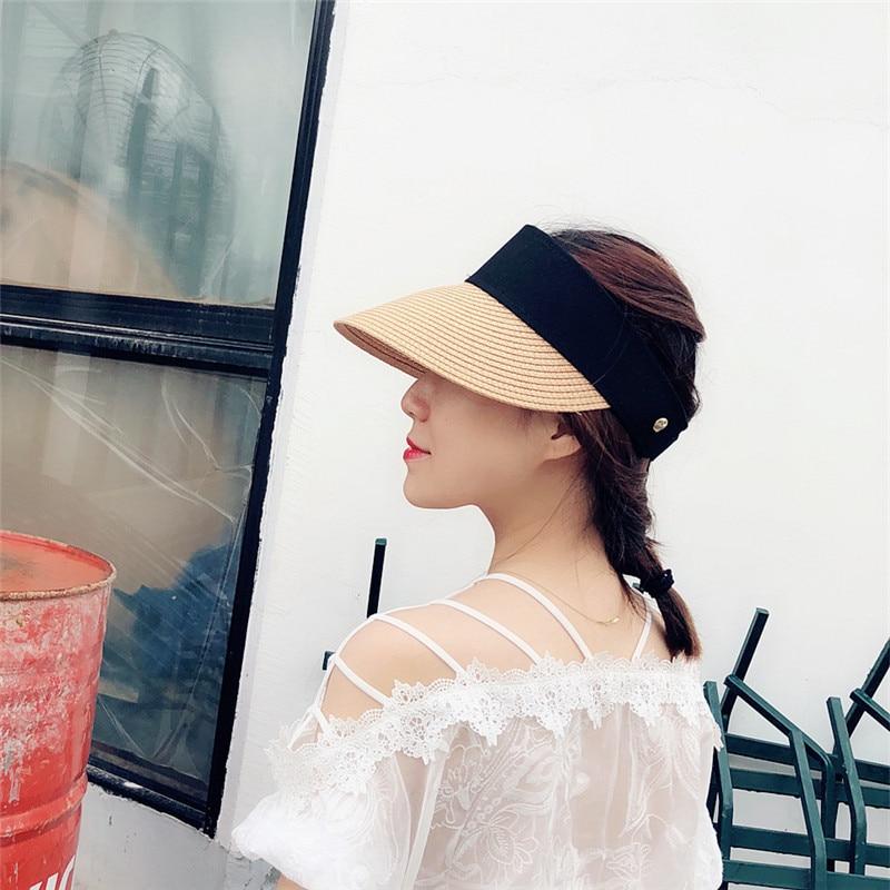 2019 Fashion Summer Hats Women For Folding Sun Visor Empty Top Outdoor Sea Beach Hat Female Wide Brim Sun Hat Femalea djustable in Women 39 s Sun Hats from Apparel Accessories