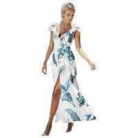 Vrouwen Nieuwe Mode Zomer Backless Lace Up Ruches Groene Bladeren Print Lange V-hals Hoge Split Maxi Sexy Strand Chiffon jurk