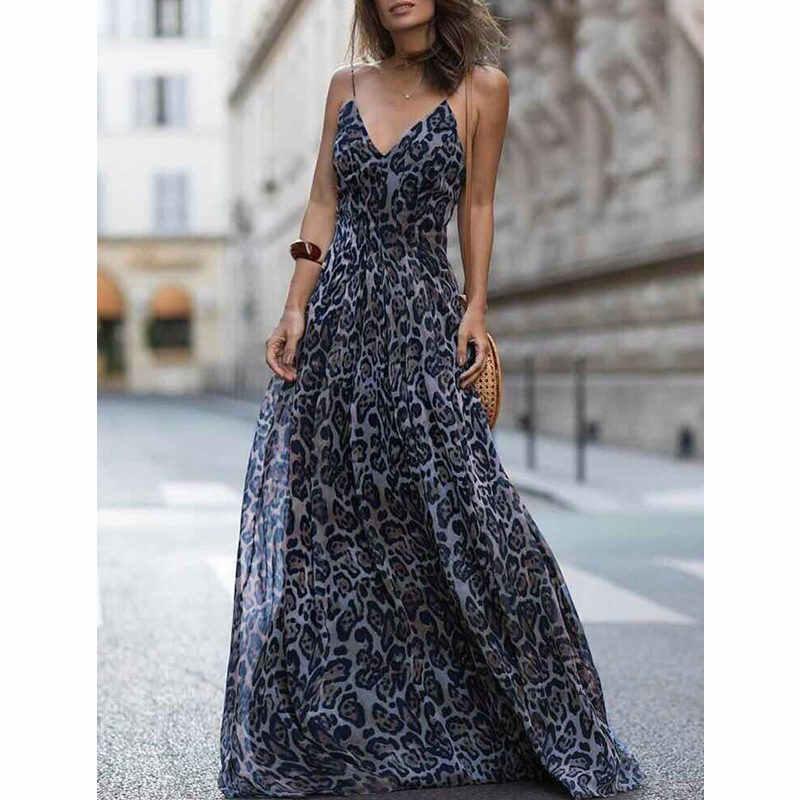b60df86eb ... Dropshipping 2018 New Summer New Arrival Sexy leopard print Spaghetti  Strap Maxi Dresses Sleeveless V- ...