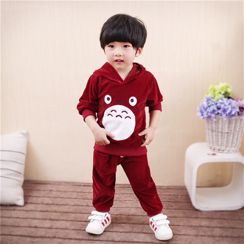 Brand New Autumn/Winter Baby Boys Clothing Sets Long Sleeve Velvet Sweater Suit Jumpsuit Children Hooded Sweater +Pant Set