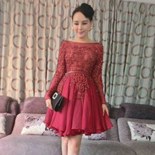 Sexy Luxury Long Sleeve Beaded Party Dress See Through A-Line Crystal Mini Chiffon Cocktail Dresses 2017 Short Prom Gowns TE13