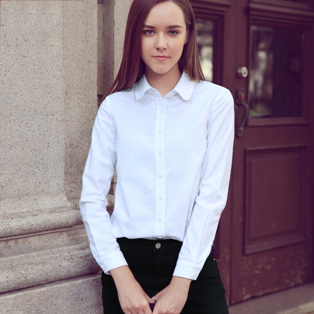 2e92c28bc3a5d Alifestyle Women Shirts Blouses Female Classic Simple Oxford Cotton Long  Sleeve Shirt Lady Casual Style High Quality White Shirt