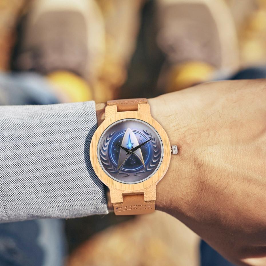 Casual Wooden Watch Fashion Movie Theme Star Trek Bamboo Clock Men Genuine Leather Band Sport Boys Minimalism saat erkekler 2017 watches (15)