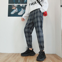 Autumn New Plaid Pants Men Cotton Loose Casual Youth Fashion Trousers Man Wild Beam Foot Large Size Harem Male