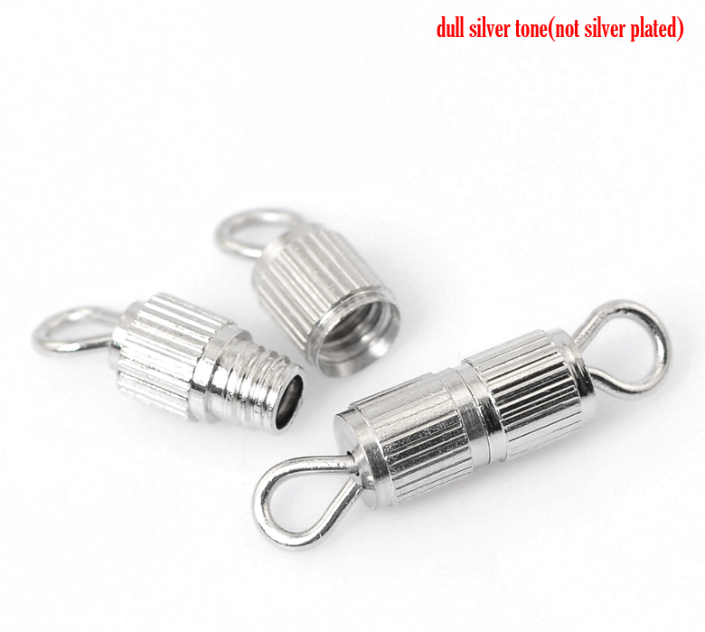 Copper Connectors Findings Cylinder Silver Plated Stripe Pattern Color Plated 15mm( 5/8