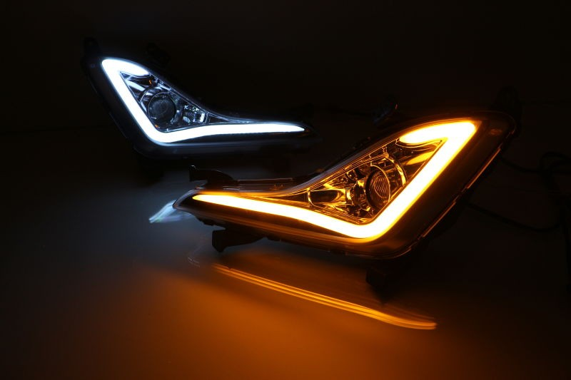 led drl daytime running light for Hyundai Elantra 2014-15 J5 Avante MD + fog lamp projector lens + yellow turn signals