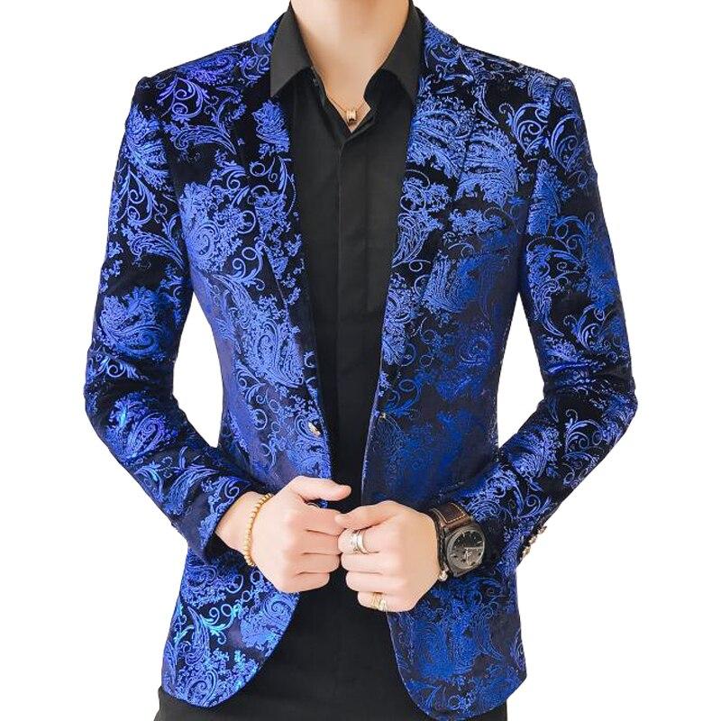 2 Taste Blau Samt Blazer Männer Luxus Paisley Blume Muster Phantasie Blazer Männer Plus Größe 5xl Anzug Jacke Herren Casual Anzug Mantel Weitere Rabatte üBerraschungen