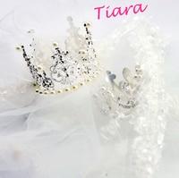 Free shipping so luxurious diamond crown dog hair accessories wedding veil matching dog wedding dress 2 size