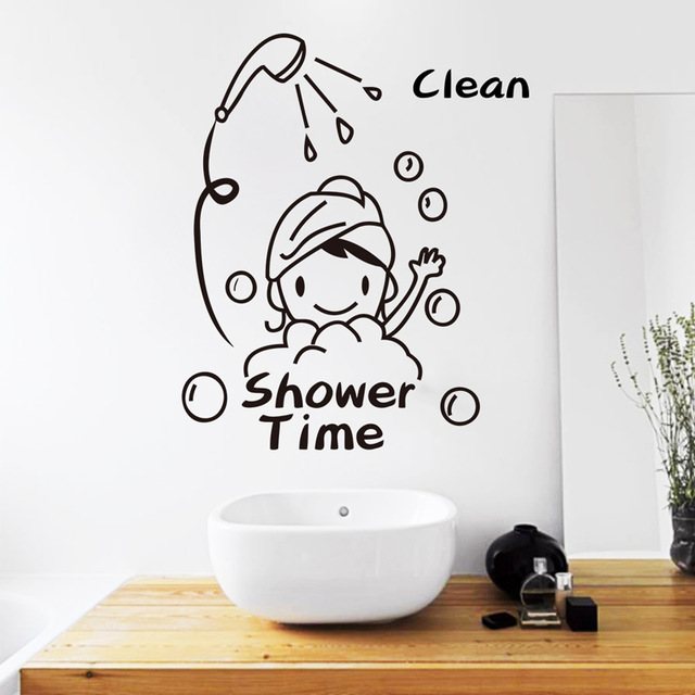 #Cu3 New Removable PVC Shower Time Pattern Bathroom Toilet Wall Sticker Home Decor