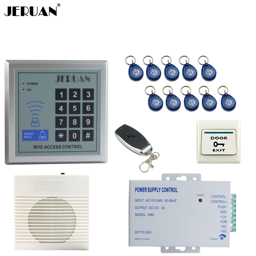 JERUAN brand new  RFID Password Access Controller system kit+Speaker doorbell+Remote control+Exit Button+ Free shipping jeruan metal waterproof rfid password touch access controller system kit speaker doorbell remote control in stock free shipping