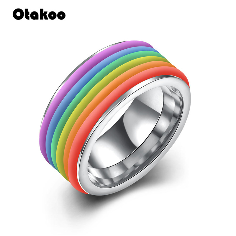 Otakoo Stainless Steel Rings Lesbian <font><b>Bisexual</b></font> Gay <font><b>Pride</b></font> Homosexual Same Sex Rainbow Ring <font><b>Jewelry</b></font> for Men & Women 9mm Wide image