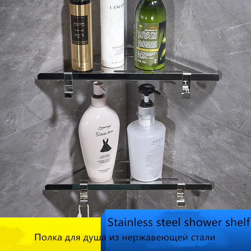 304 Stainelss Steel Corner Shelf Bathroom Accessories Set Shower Caddy Shelf Storage Rack Polished Shelf Basket Shampoo Rack