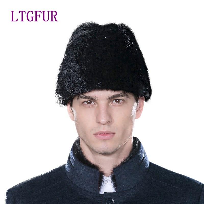 LTGFUR značkové kožešinové čepice pro muže Real Mink Fur Warm Ručně vyráběné Pánské čepice Zimní outdoorové sporty Ruské čepice Hot Sales