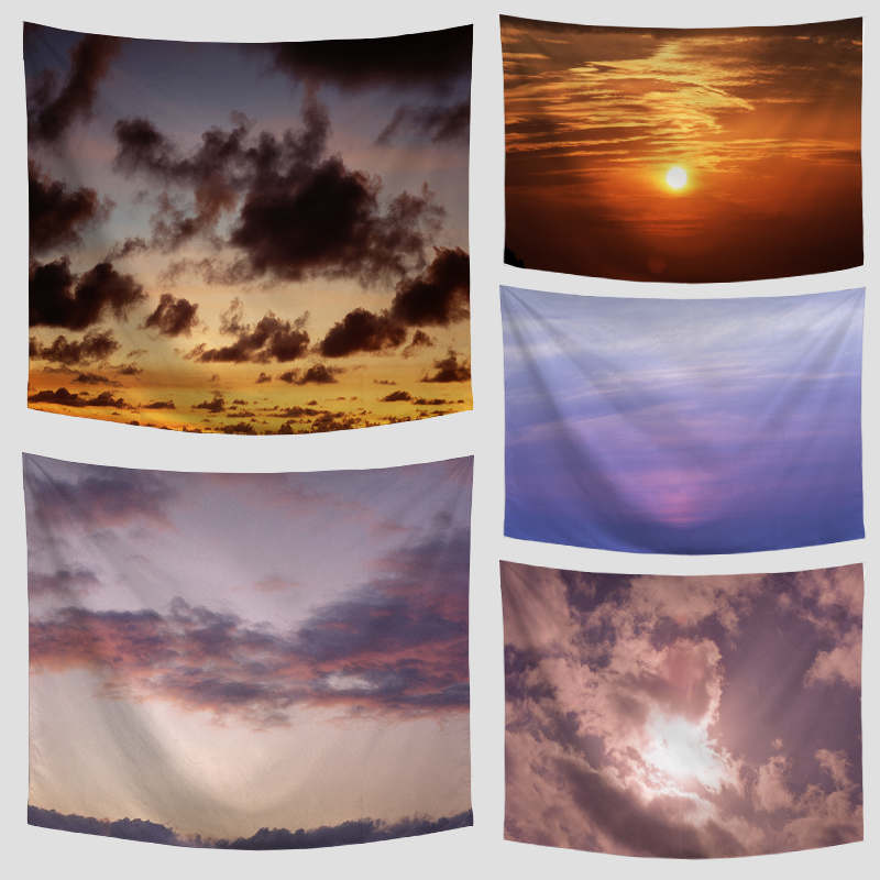 Promotion Evening Sky Towel Colorful Sky Clouds Sunset Design Towel Mat Outdoor Picnic M ...