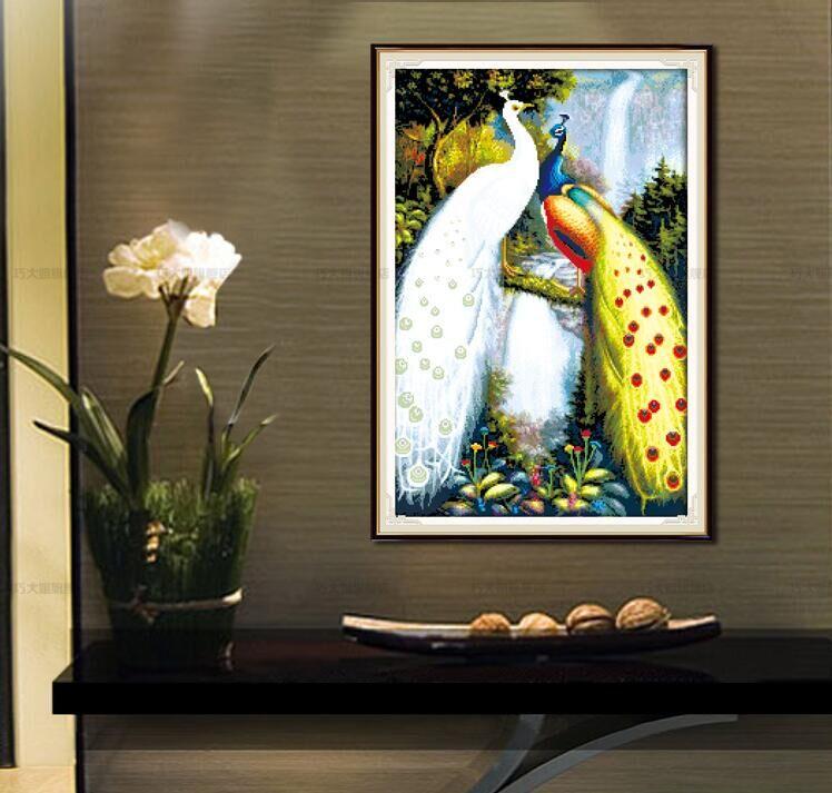 Pauw Paren Dier groothandel Canvas DMC Borduurpakketten Gedrukt - Kunsten, ambachten en naaien