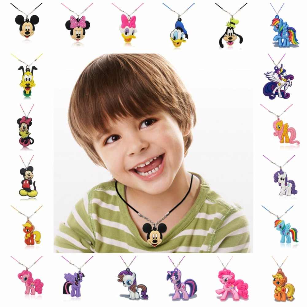 Hot Sell 1PCS PVC Cartoon Figure Mickey Rope Chain Necklace Pendant Cute Minnie Charms Choker Necklace Kid Party Fashion Jewelry
