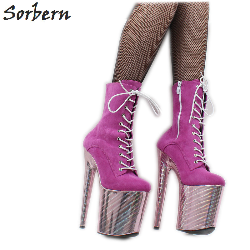 Sorbern 8 Inch Heels Boots Pole Dance Wear High Heel Exotic Platform Dance Boot Custom Colors Metallic Heels Women Booties