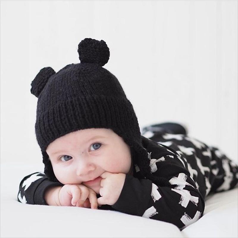 Модные зимние теплые детские Шапки маленьких Кепки для детей зимняя вязаная шапка детска ...