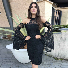 2018 New Spring Dress Women Celebrity Black Flare Sleeve Off Shoulder Sexy Night Out Lace Party Dress Women Vestidos Wholesale