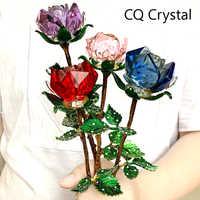 Kristall Glas Rose Blume Figuren Handwerk Hochzeit Valentinstag gefälligkeiten Geschenke Tisch Dekoration Ornamente Geschenke Boxed (4 farben)