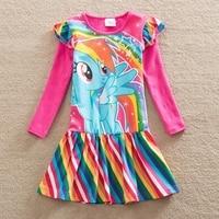 2017 Autumn Girl Long Sleeves Dress Fashion Baby Clothes Casual Kids Cotton Dress Print Rainbow 3