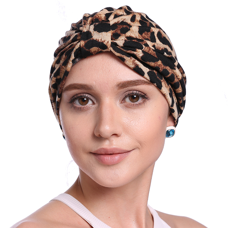 Babalet Women's Elegant Soft Breathable Floral Leopard Chemo Cancer Beanie Muslim Islamic Turban Headwear Indian Cap Nightcap