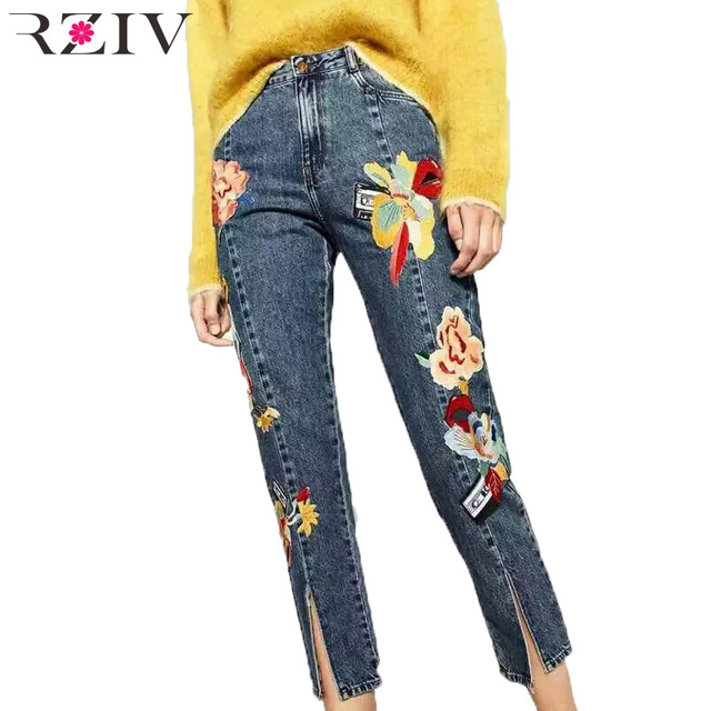 RZIV 2016 winter clothes women fashion embroidery jeans woman high waist jeans trousers women patch trousers women pants
