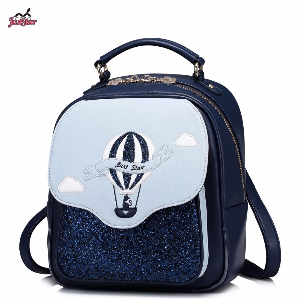 ФОТО 2017 Spring New Just Star Brand Design Balloon PU Women Leather Ladies Small Backpack Shoulders Travel School Bags For Girls