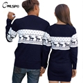 Christmas Deer Winter Lover Couples Sweater knitted Top Dress Women Men Pullover Valentine pull epaules nues manche longue 2XL