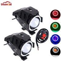 2pcs LED Motorcycle Headlight CREE U7 125W With 1pcs Switch 3000LM Devil Angel Eye Fog DRL