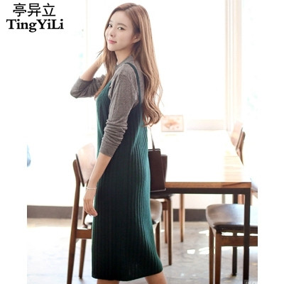 d6be2c34923f TingYiLi Ladies Girls Autumn Cute Slip Dress Black Gray Red Khaki White Green  Dress Women Straight