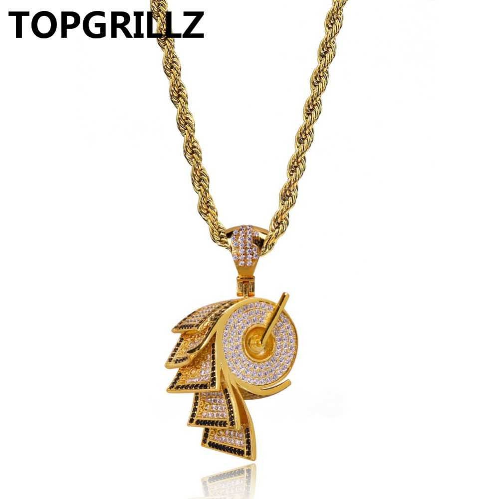 TOPGRILLZ Hip Hop Micro Pave Cubic Zircon Paper Necklaces & Pendant Full Iced Out Gold Color PlatedNecklace Jewelry 24 Inch