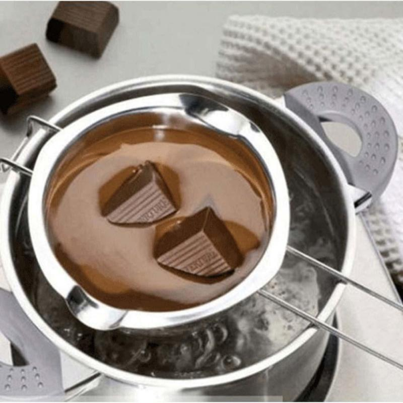 Hot Sale Chocolate Melting Pot Stainless Steel Furnace Heated Milk Bowl with Handle Heated Kitchen Butter Baking Pastry Tool A35