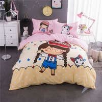 Cartoon Girl Cat Printed Bedding Set Quilt/Duvet Covers Bedspreads Children Baby Kid Bed Twin Full Queen King Size Cotton Fabric