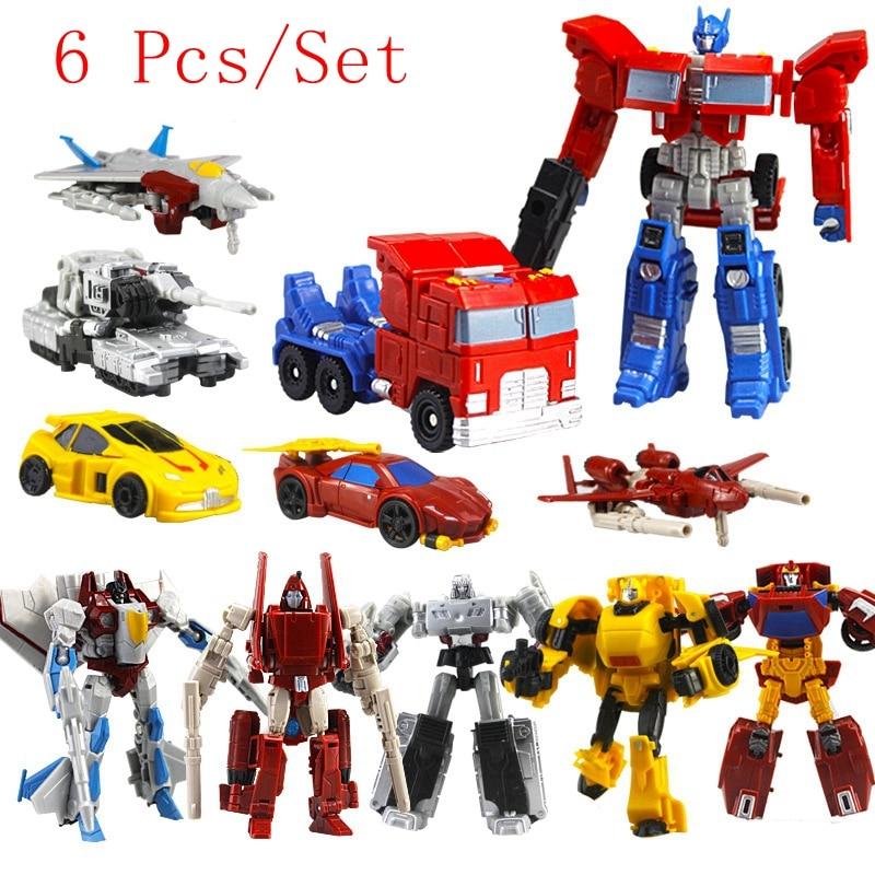 6 Pcs Set Transformation Robots font b Toys b font Deformation Cars Robots Action Figures PVC