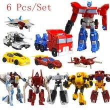 6 Шт./компл. Трансформации Роботы Игрушки Деформации Автомобили Роботы Фигурки ПВХ классический RobotsToys для Детей подарок