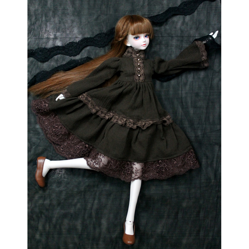 Doll Accessories 1/3 1/4 BJD Doll Clothes Clothing Brown Cotton Western-style Dress Princess SD MSD BJD Clothes Toys For Girls fashion bjd doll retro black linen pants for bjd 1 4 1 3 sd17 uncle ssdf popo68 doll clothes cmb67