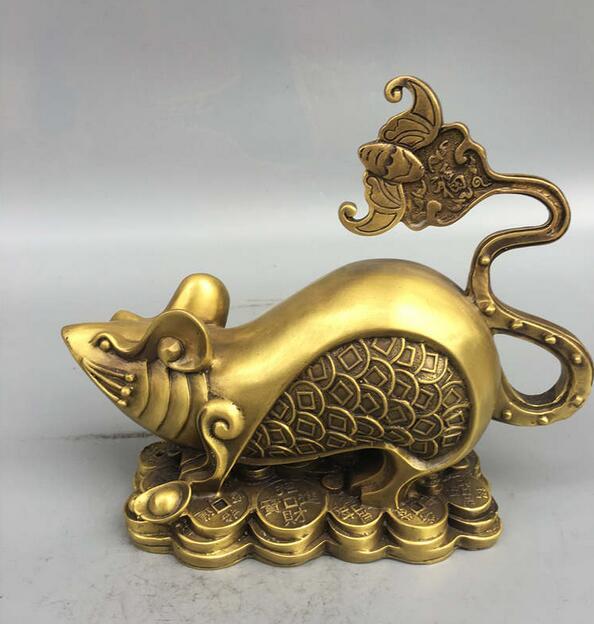 Collection Fine Workmanship Brass Wealth Gold Money Rat Craft Statue
