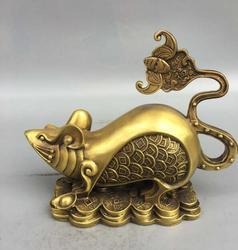 Raccolta pregevole fattura in ottone ricchezza oro soldi ratto mestiere statua