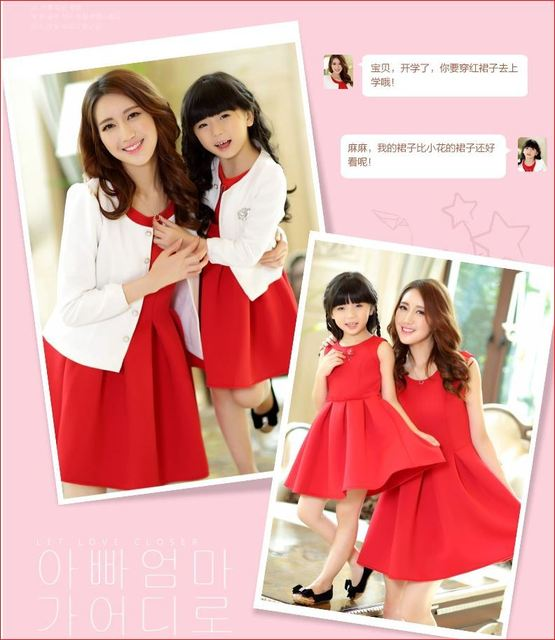 2016 Family Fashion Red Elegant Dress And Outerwear Coat Clothing Formal Girls Christmas Party Mother