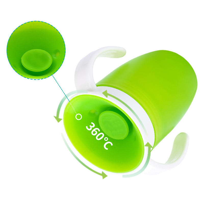 360 Degrees Can Be Rotated Baby Learning Drinking Cup With Double Handle Flip lid Leakproof Infants Water Cups Bottle BPA Free in Cups from Mother Kids