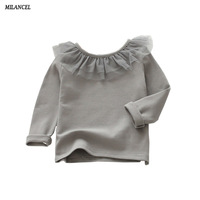 Milancel 2017 Autumn New Baby Girls Clothing Lace Collar Children Blouse Princess Ruffle Blouse Cute Tops