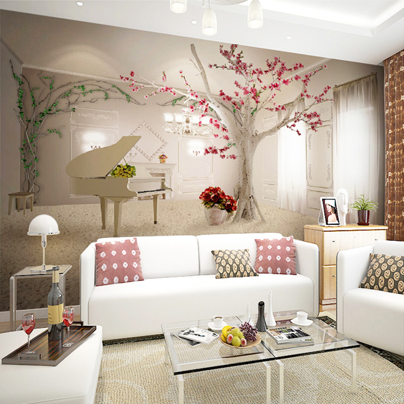 Modern Art Piano Tree Branch Photo Wallpaper Dining Room Living Room Sofa  Backdrop Wall Painting 3D Wall Mural Papel De Parede In Wallpapers From  Home ...
