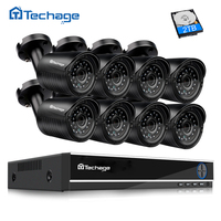 Techage 8CH 720P HDMI DVR AHD CCTV System 8PCS 1 0MP Camera Outdoor Waterproof Video Security