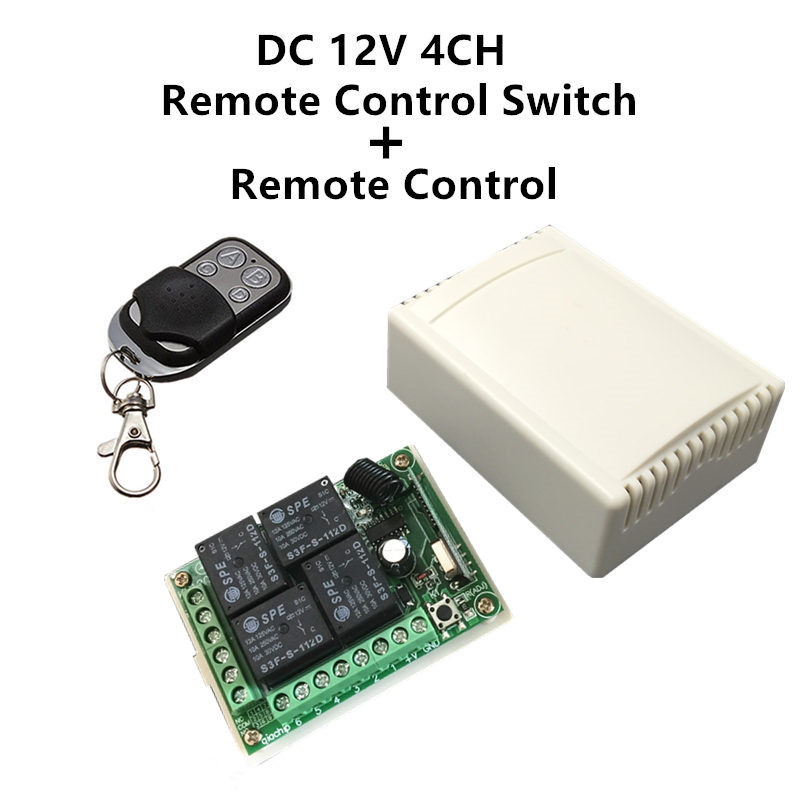 433Mhz Wireless Remote Control Switch DC <font><b>12V</b></font> <font><b>4CH</b></font> <font><b>relay</b></font> Receiver <font><b>Module</b></font> and RF Transmitter 433 Mhz Remote Controls image