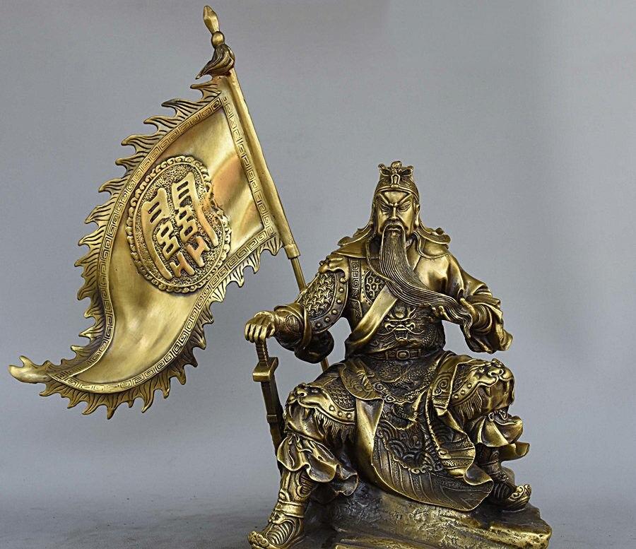 11 China Pure Bronze Flag GuanGong Guan Yu Dragon Warrior God Sit Stone Statue